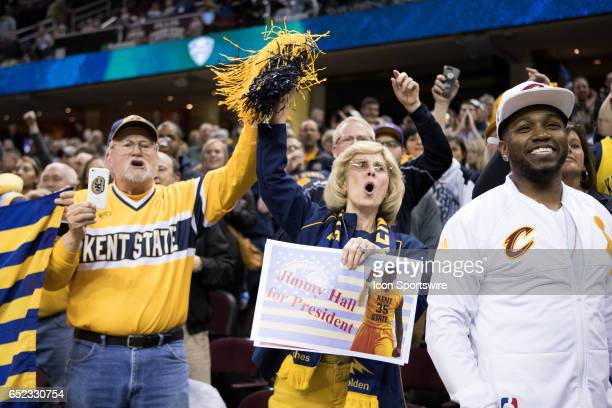 Kent State Golden Flashes fans celebrate following the MAC mens basketball tournament championship game between the Kent State Golden Flashes and...