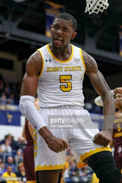 Kent State Golden Flashes forward Danny Pippen celebrates after scoring and being fouled during the second half of the men's college basketball game...