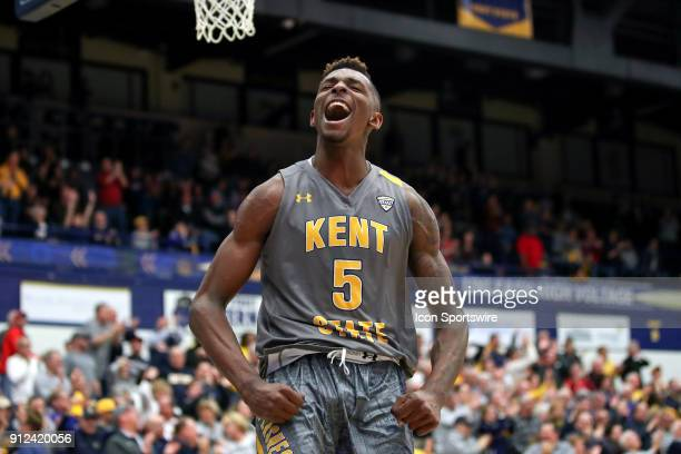Kent State Golden Flashes forward Danny Pippen celebrates after giving the Golden Flashes the lead for good with 0357 seconds left in the second half...