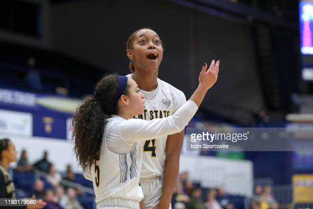 Kent State Golden Flashes forward Nila Blackford reacts after being called for a foul during the second quarter of the women's college basketball...
