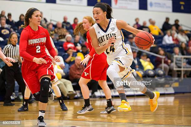 Kent State Golden Flashes G Alexa Golden drives to the basket as Youngstown State Penguins G Alison Smolinski defends during the fourth quarter of...