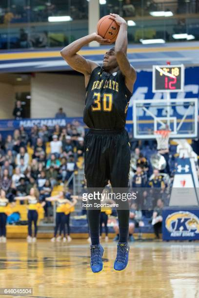Kent State Golden Flashes G Deon Edwin shoots during the second half of the men's college basketball game between the Ohio Bobcats and Kent State...