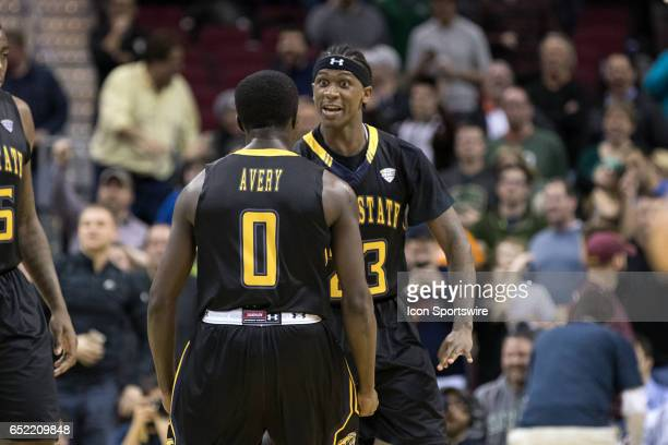 Kent State Golden Flashes G Jalen Avery and Kent State Golden Flashes G Jaylin Walker celebrate after Walker scored the gamewinning basket during the...