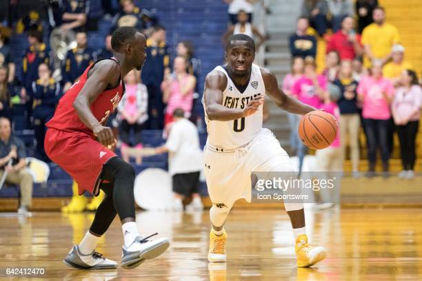 Kent State Golden Flashes G Jalen Avery is defended by Miami RedHawks G Abdoulaye Harouna during the second half of the men's college basketball game...