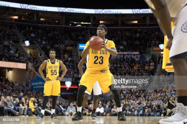 Kent State Golden Flashes G Jaylin Walker at the foul line during the second half of the MAC mens basketball tournament championship game between the...