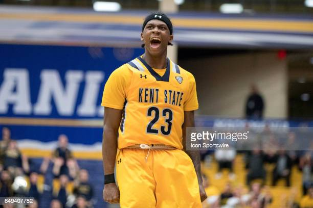 Kent State Golden Flashes G Jaylin Walker celebrates after making a 3point shot during the second half of the MAC men's basketball tournament game...