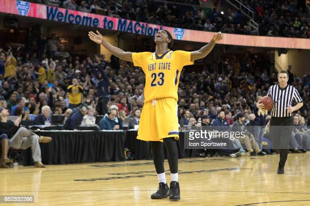 Kent State Golden Flashes G Jaylin Walker celebrates late in the second half of the MAC mens basketball tournament championship game between the Kent...