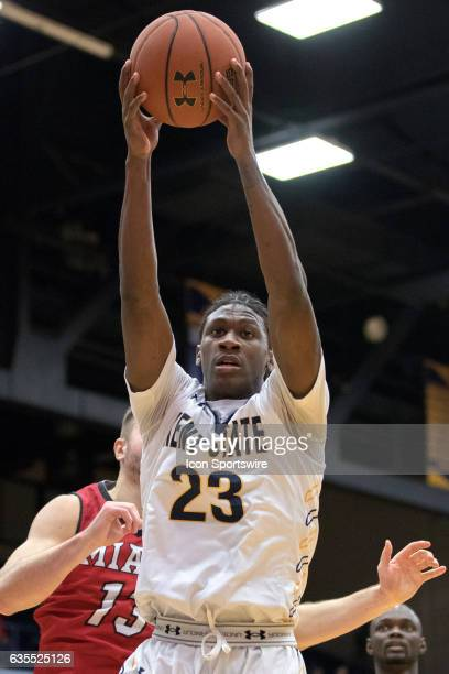 Kent State Golden Flashes G Jaylin Walker pulls down a rebound during the second half of the men's college basketball game between the Miami RedHawks...