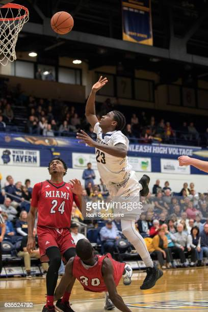 Kent State Golden Flashes G Jaylin Walker shoots after being fouled by Miami RedHawks G Abdoulaye Harouna during the second half of the men's college...
