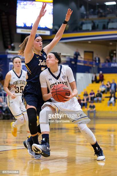 Kent State Golden Flashes G Larissa Lurken drives to the basket against Toledo Rockets G Mariella Santucci during the fourth quarto of the NCAA...