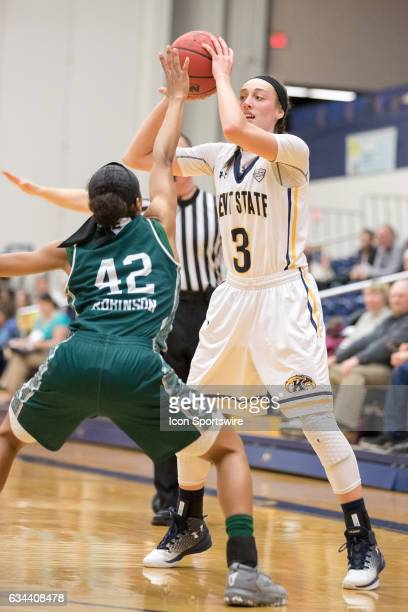 Kent State Golden Flashes G Larissa Lurken is defended by Eastern Michigan Eagles G Micah Robinson during the second quarter of the women's college...