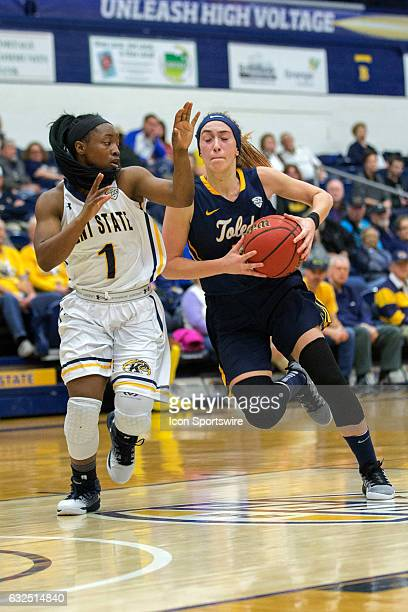 Kent State Golden Flashes G Naddiyah Cross defends against Toledo Rockets G Mariella Santucci during the second quarter of the NCAA Women's...
