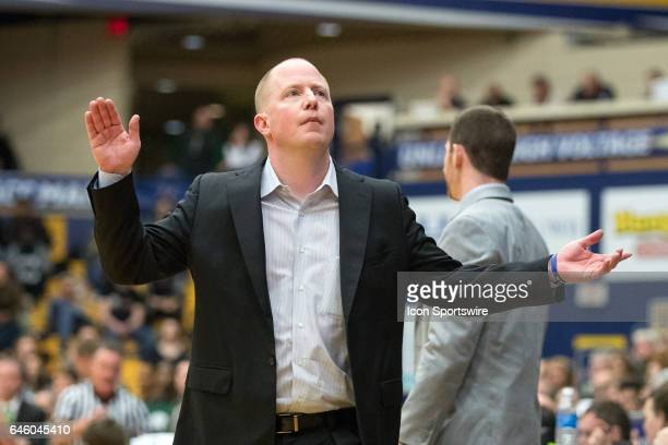 Kent State Golden Flashes head coach Rob Senderoff reacts to a foul call during the second half of the men's college basketball game between the Ohio...