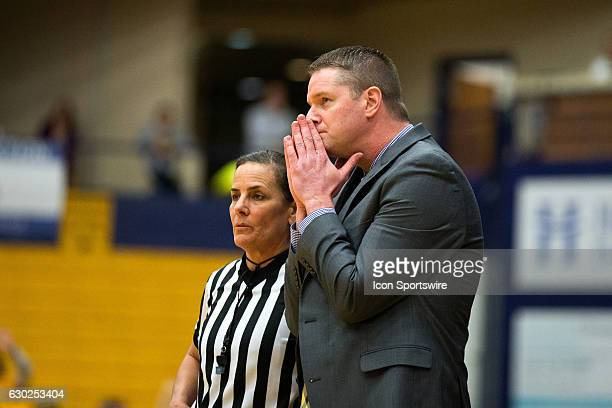 Kent State Golden Flashes head coach Todd Starkey reacts to a call during the third quarter of the NCAA Women's Basketball game between the...