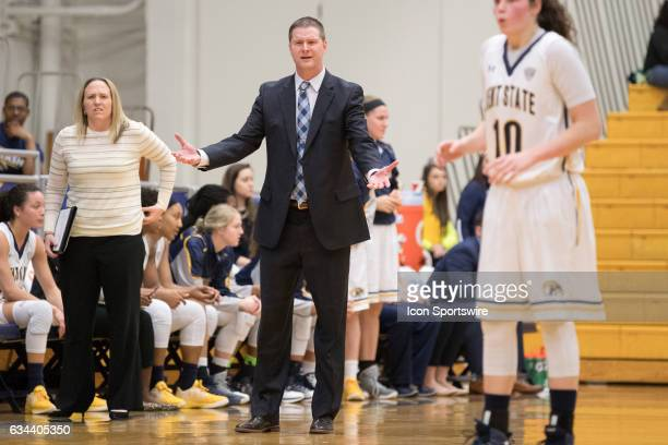 Kent State Golden Flashes head coach Todd Starkey reacts to a call during the second quarter of the women's college basketball game between the...