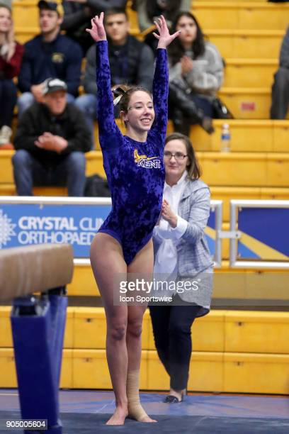 Kent State Golden Flashes Kennedy Plude competes in Beam during the college gymnastics meet between the Centenary College Ladies and Kent State...