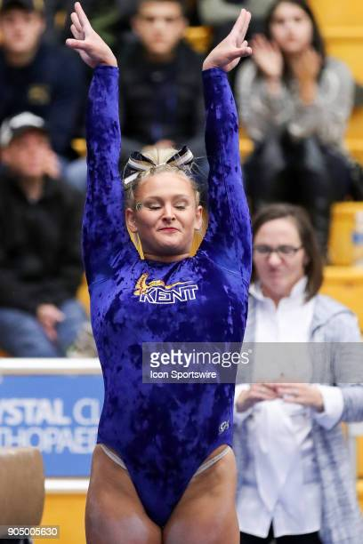 Kent State Golden Flashes Rachel Stypinski competes in Beam during the college gymnastics meet between the Centenary College Ladies and Kent State...