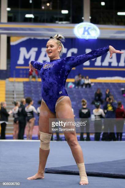 Kent State Golden Flashes Rachel Stypinski competes in Floor during the college gymnastics meet between the Centenary College Ladies and Kent State...