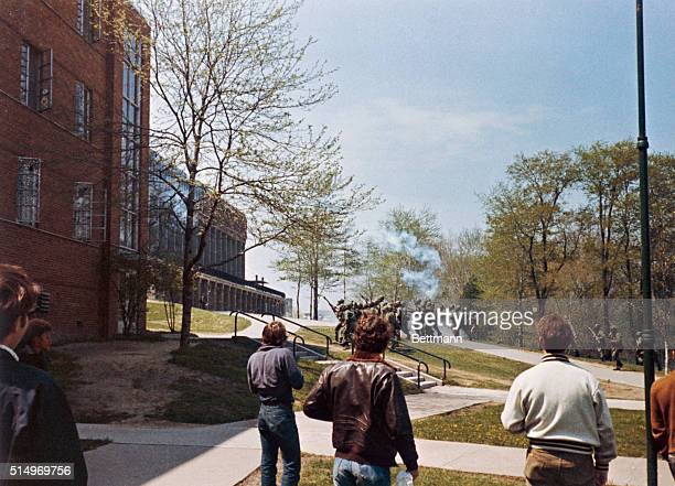 Kent State University students demonstrate to protest the widening of the war in Souteast Asia National Guardsmen open fire on the 1000 students and...