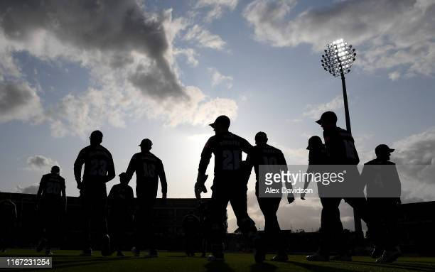 Kent take to the field during the Vitality Blast match between Somerset and Kent Spitfires at The Cooper Associates County Ground on August 10, 2019...