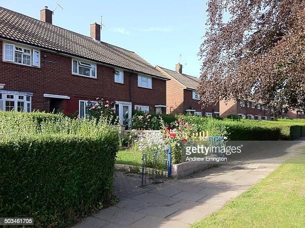 UK Kent Tunbridge Wells Terraced house with flowers in front garden