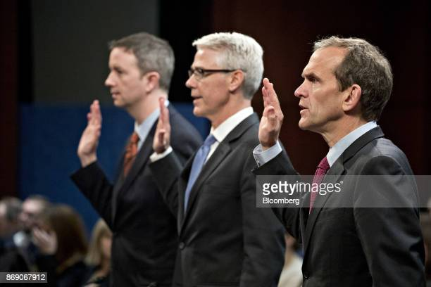 Kent Walker vice president and general counsel with Google Inc from right Colin Stretch general counsel with Facebook Inc and Sean Edgett acting...
