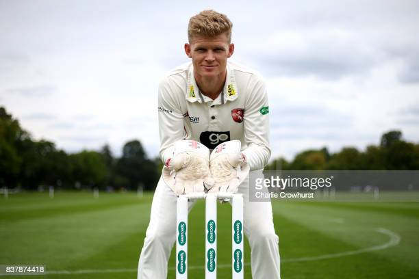 Kent wicket keeper Sam Billings poses for a photo during filming of the Specsavers advert The Umpires Strikes Back on August 23 2017 in London England