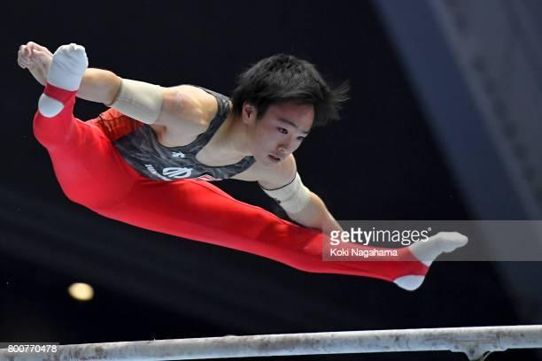 Kenta Chiba competes in the Parallel Barsduring Japan National Gymnastics Apparatus Championships at the Takasaki Arena on June 25 2017 in Takasaki...