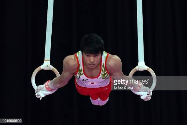 Kenta Chiba of Japan competes on the Rings in qualification one of the artistic gymnastics event on day two of the Asian Games on August 20, 2018 in...