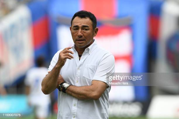 Kenta Hasegawa,coach of FC Tokyo looks on during the J.League J1 match between FC Tokyo and Oita Trinita at Ajinomoto Stadium on June 01, 2019 in...