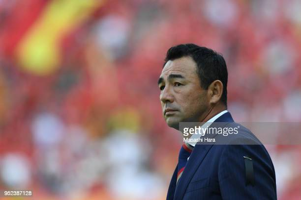 Kenta Hasegawa,coach of FC Tokyo looks on during the J.League J1 match between FC Tokyo and Nagoya Grampus at Ajinomoto Stadium on April 28, 2018 in...