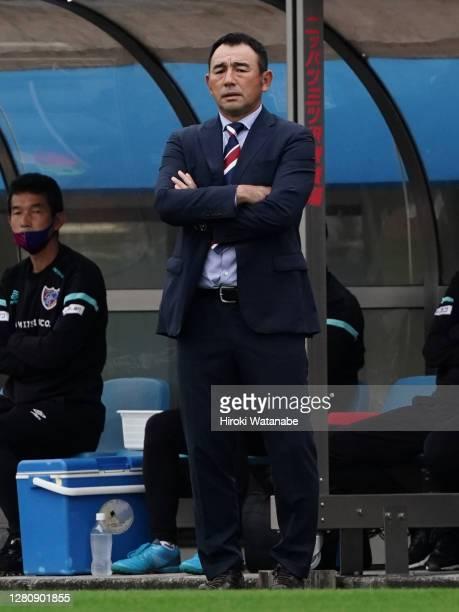 Kenta Hasegawa,coach of FC Tokyo looks on during the J.League Meiji Yasuda J1 match between Yokohama FC and FC Tokyo at NHK Spring Mitsuzawa Football...