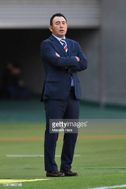 Kenta Hasegawa,coach of FC Tokyo looks on during the J.League Meiji Yasuda J1 match between FC Tokyo and Yokohama F.Marinos at Ajinomoto Stadium on...