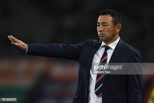 Kenta Hasegawacoach of FC Tokyo looks on during the JLeague YBC Levain Cup Group A match between FC Tokyo and Albirex Niigata at Ajinomoto Stadium on...