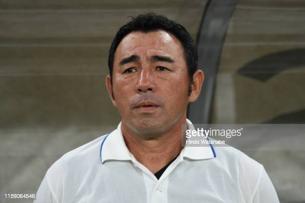Kenta Hasegawa,coach of FC Tokyo looks on prior to the J.League J1 match between FC Tokyo and Yokohama F.Marinos at Ajinomoto Stadium on June 29,...