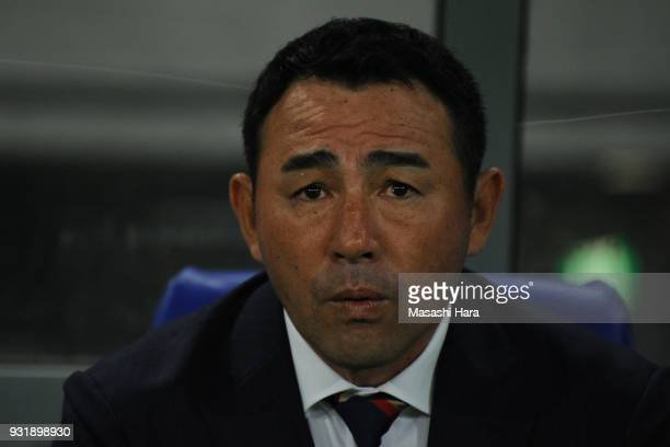 Kenta Hasegawacoach of FC Tokyo looks on prior to the JLeague YBC Levain Cup Group A match between FC Tokyo and Albirex Niigata at Ajinomoto Stadium...