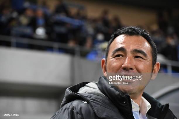 Kenta Hasegawa,coach of Gamba Osaka looks on prior to the AFC Champions League Group H match between Gamba Osaka and Jiangsu FC at Suita City...