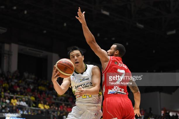 Kenta Hirose of the Sun Rockers Shibuya looks to pass the ball during the B.League Early Cup Kanto 3rd Place Game between Chiba Jets and Sun Rockers...