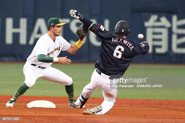 Kenta Imamiya of Japan hits a double in the top half of the sixth inning during the game two of the baseball international match between Japan and...