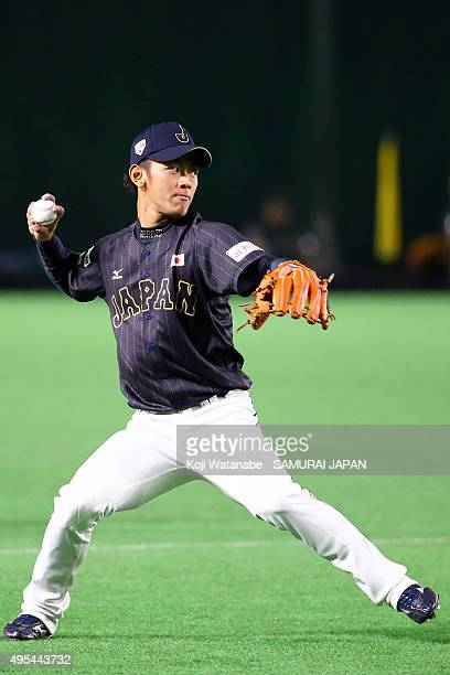Kenta Imamiya of Samurai Japan in action during a training session at Fukuoka Dome on November 3, 2015 in Fukuoka, Japan.