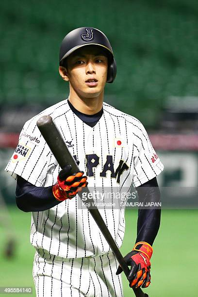 Kenta Imamiya of Samurai Japan in action during a training session at Fukuoka Dome on November 4, 2015 in Fukuoka, Japan.