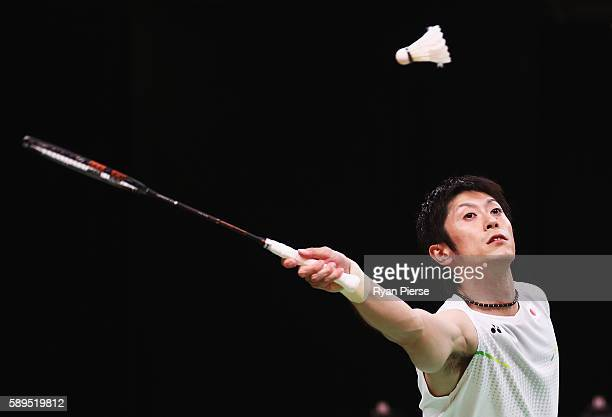 Kenta Kazuno of Japan hits a shot during the Mixed Doubles Quarter Final match against China during on Day 9 of the Rio 2016 Olympic Games at...