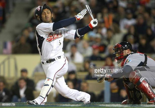 Kenta Kurihara of Japan strikes out during the semifinal game of the 2009 World Baseball Classic against the United States on March 22, 2009 at...