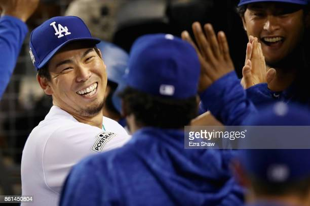 Kenta Maeda of the Los Angeles Dodgers after being taken out of the game in the seventh inning during Game One of the National League Championship...