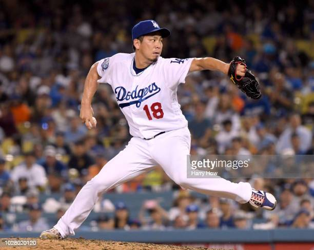 Kenta Maeda of the Los Angeles Dodgers against the New York Mets during the eighth inning at Dodger Stadium on September 3 2018 in Los Angeles...