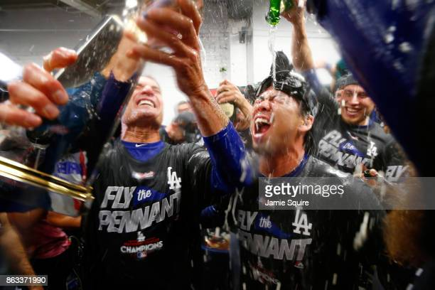Kenta Maeda of the Los Angeles Dodgers celebrates in the clubhouse after defeating the Chicago Cubs 111 in game five of the National League...