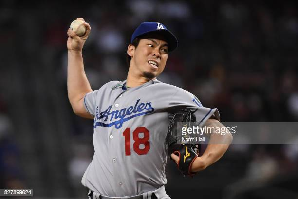 Kenta Maeda of the Los Angeles Dodgers delivers a first inning pitch against the Arizona Diamondbacks at Chase Field on August 8 2017 in Phoenix...