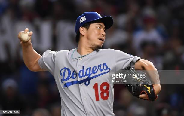 Kenta Maeda of the Los Angeles Dodgers delivers a pitch during game three of the National League Divisional Series against the Arizona Diamondbacks...