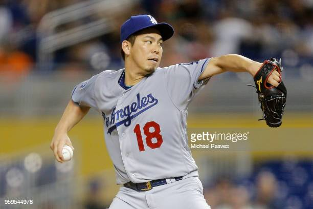 Kenta Maeda of the Los Angeles Dodgers delivers a pitch in the second inning against the Miami Marlins at Marlins Park on May 17 2018 in Miami Florida