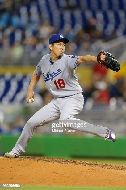 Kenta Maeda of the Los Angeles Dodgers delivers a pitch in the third inning against the Miami Marlins at Marlins Park on May 17 2018 in Miami Florida